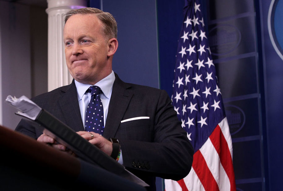 WASHINGTON, DC - MARCH 23:  White House Press Secretary Sean Spicer conducts his daily media briefing at the James Brady Press Room of the White House March 23, 2017 in Washington, DC. Spicer answered questions related to an expected vote today on the Republican health-care bill.   (Photo by Alex Wong/Getty Images)