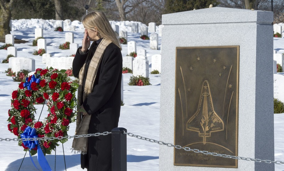 NASA Deputy Administor Dava Newman is seen during ceremonies for the remembrance of the Apollo 1 and the Space Shuttles Challenger and Columbia crews January 28, 2016, at Arlington National Cemetery in Arlington, Virginia..The US space agency marked the 30th anniversary Thursday of the explosion of the space shuttle Challenger with a pledge to remember lost astronauts as it presses on toward Mars. / AFP / PAUL J. RICHARDS        (Photo credit should read PAUL J. RICHARDS/AFP/Getty Images)