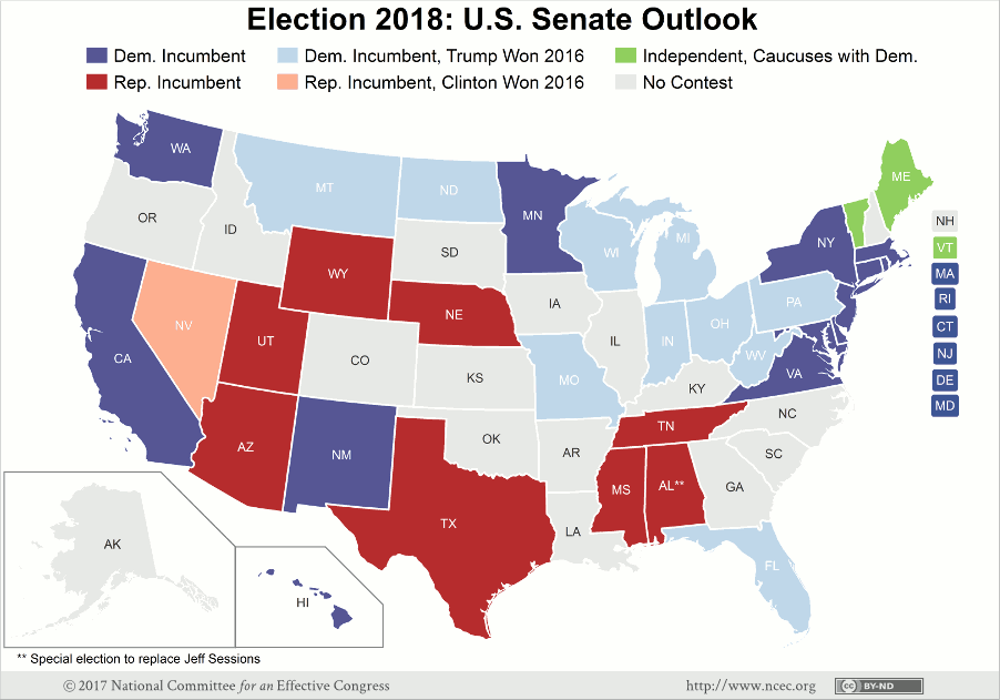 Democrats Likely On Defense In Senate Race - Us senate projection map