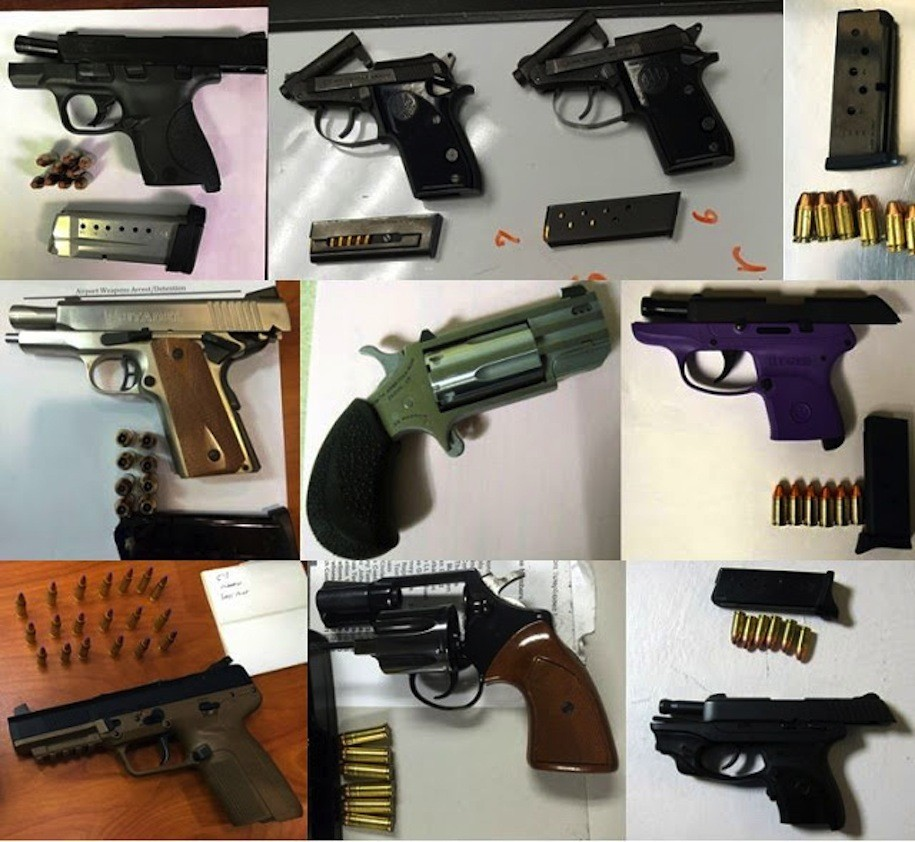 Nine of the 73 guns discovered in carry-on luggage by TSA agents at airports across the country, during the week of March 6-12, 2017