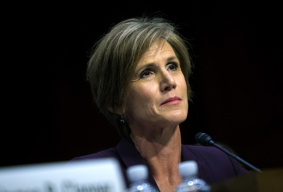 WASHINGTON, DC - MAY 8:  Former U.S. Deputy Attorney General Sally Yates testifies before the Senate Judicary Committee's Subcommittee on Crime and Terrorism in the Hart Senate Office Building on Capitol Hill May 8, 2017 in Washington, DC. Before being fired by U.S. President Donald Trump, Yates testified that she had warned the White House about contacts between former National Security Advisor Michael Flynn and Russia that might make him vulnerable to blackmail. (Photo by Eric Thayer/Getty Images)