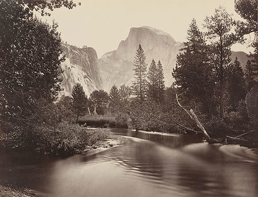 Merced River and Half Dome, Yosemite National Park, circa 1865, Carleton Watkins photograph