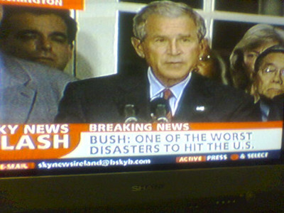 [photo: Bush: One of the worst disasters to hit the U.S.]