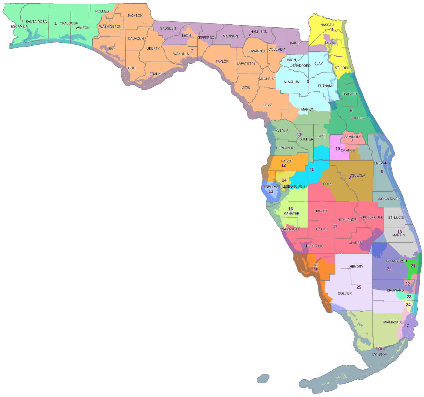 Floridas Proposed New Congressional Map Is Better But A Far Cry - Us nc congress district 9 current map