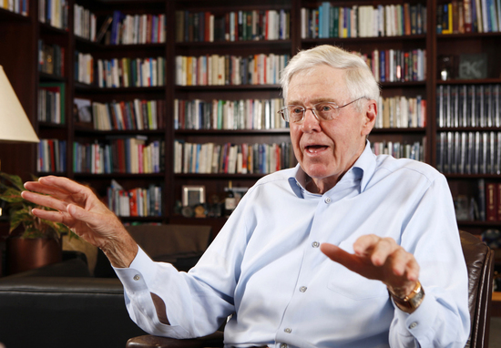 """FILE- In this May 22, 2012, file photo, Charles Koch speaks in his office at Koch Industries in Wichita, Kan. Koch, a billionaire industrialist, warned America is """"done for"""" if the conservative donors and politicians he gathered at a retreat this weekend"""