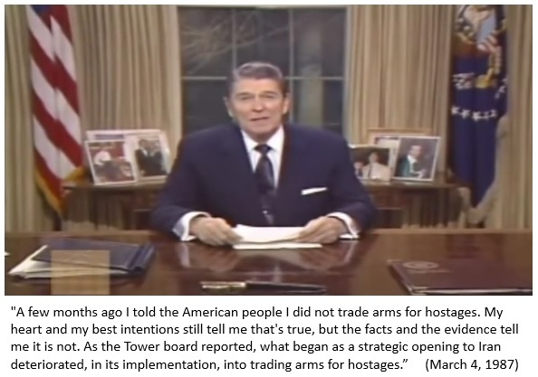 Image result for president ronald reagan on the iran contra scandal