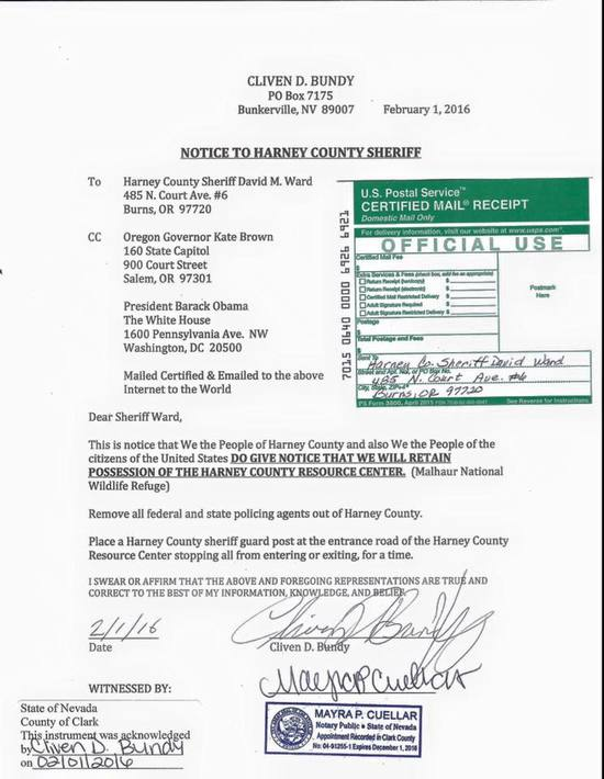 Certified letter of delusion from Cliven Bundy