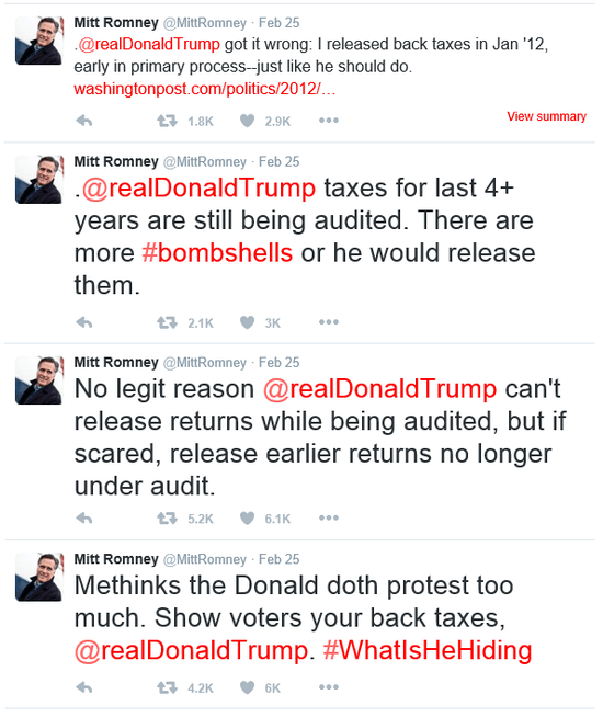 Donald Trump S 1040 Tax Document Reveals Reveals How Much: Romney's Warning: Trump Is Too Much Like Me