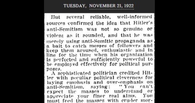 New York Times mention of Hitler in 1922