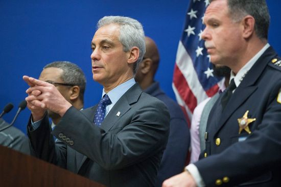 Mayor Rahm Emanuel (L) and Chicago Police Superintendent Garry McCarthy hold a press conference to address the arrest of Chicago Police officer Jason Van Dyke on November 24, 2015 in Chicago, Illinois. (Photo by Scott Olson/Getty Images)
