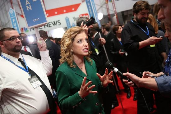Debbie Wasserman Schultz speaks to reporters in the spin room after watching the January 17 Democratic presidential debate in Charleston, South Carolina. (Photo by Andrew Burton/Getty Images)