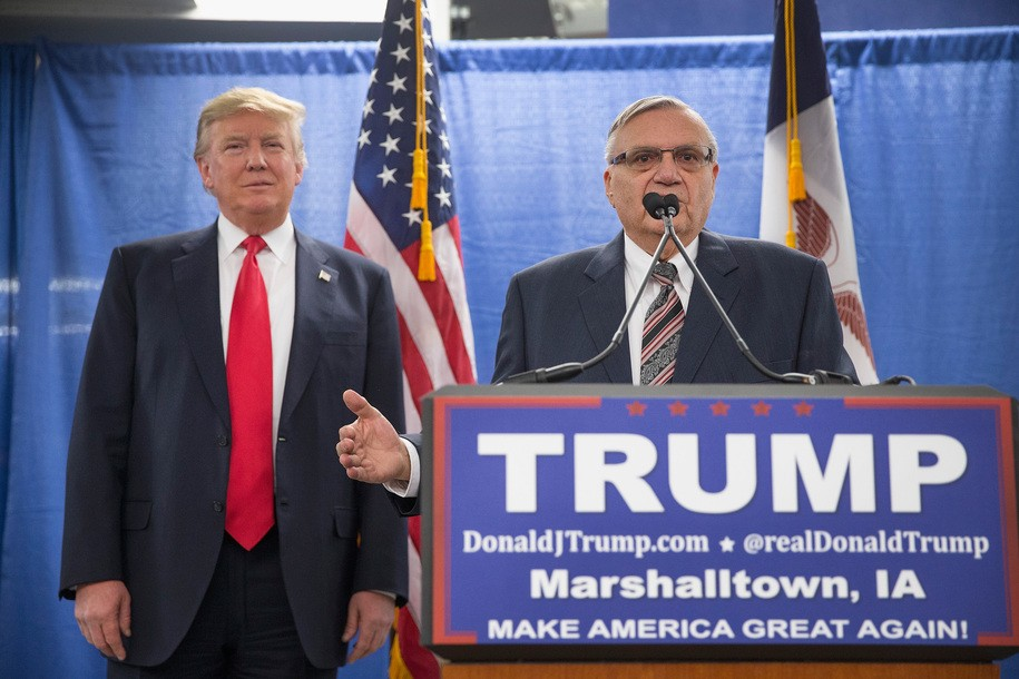 MARSHALLTOWN, IA - JANUARY 26:  Sheriff Joe Arpaio (R) of Maricopa County, Arizona endorses Republican presidential candidate Donald Trump prior to a rally on January 26, 2016 in Marshalltown, Iowa. Trump said today he would not participate in the next Republican debate hosted by Fox.  (Photo by Scott Olson/Getty Images)