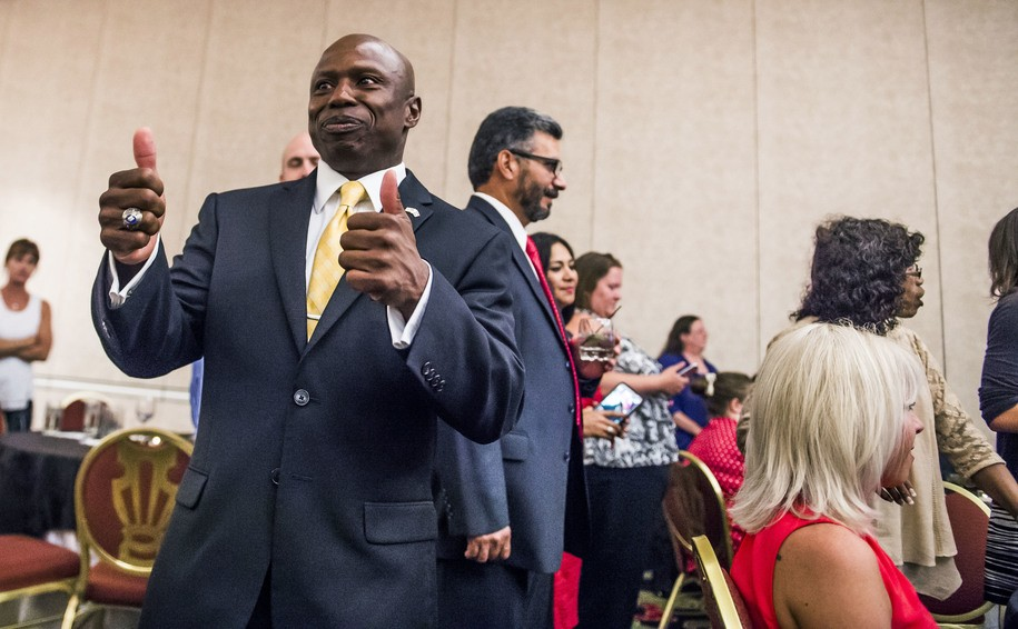 El Paso County Commissioner Darryl Glenn gives two thumbs during the U.S. Senate Republican Primary, Tuesday, June 28, 2016  in Colorado Springs, Colo. El Paso County Commissioner Darryl Glenn has won Colorado's Republican U.S. Senate primary and will face incumbent Democrat Michael Bennet in November.  (Stacie Scott/The Gazette via AP) MAGS OUT; MANDATORY CREDIT