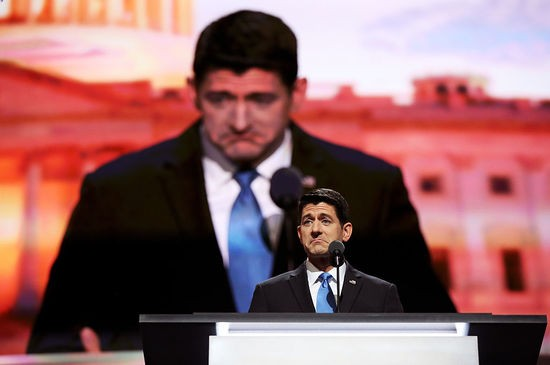 CLEVELAND, OH - JULY 19:  Speaker of the House Paul Ryan delivers a speech on the second day of the Republican National Convention on July 19, 2016 at the Quicken Loans Arena in Cleveland, Ohio. Republican presidential candidate Donald Trump received the number of votes needed to secure the party's nomination. An estimated 50,000 people are expected in Cleveland, including hundreds of protesters and members of the media. The four-day Republican National Convention kicked off on July 18.  (Photo by Joe Raedle/Getty Images)