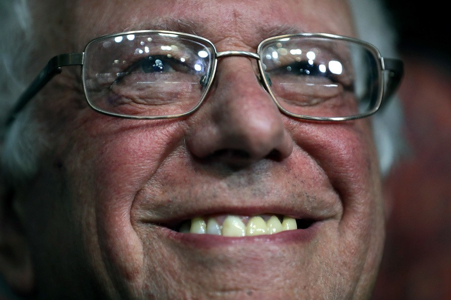 PHILADELPHIA, PA - JULY 26:  Sen. Bernie Sanders  smiles while attending roll call on the second day of the Democratic National Convention at the Wells Fargo Center, July 26, 2016 in Philadelphia, Pennsylvania. An estimated 50,000 people are expected in Philadelphia, including hundreds of protesters and members of the media. The four-day Democratic National Convention kicked off July 25.  (Photo by Chip Somodevilla/Getty Images)