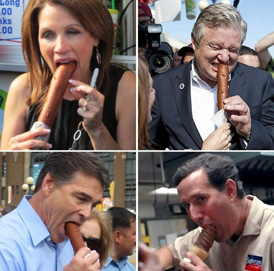 Republicans eating corn dogs and ice cream at the Iowa state fair in 2012.