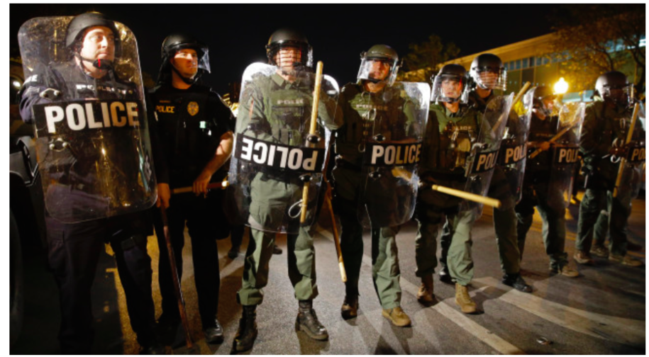 Baltimore police in riot gear during April 2015 unrest over the murder of Freddie Gray