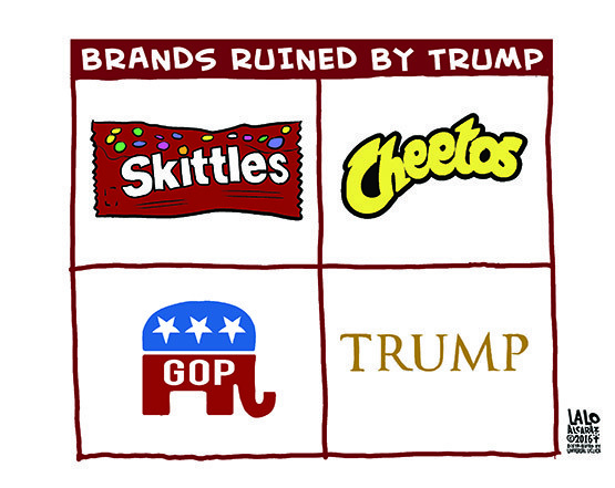 Cartoon: Brands ruined by Trump