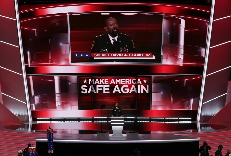 CLEVELAND, OH - JULY 18: Milwaukee County Sheriff David Clarke delivers a speech on the first day of the Republican National Convention on July 18, 2016 at the Quicken Loans Arena in Cleveland, Ohio. An estimated 50,000 people are expected in Cleveland, including hundreds of protesters and members of the media. The four-day Republican National Convention kicks off on July 18. (Photo by Alex Wong/Getty Images)