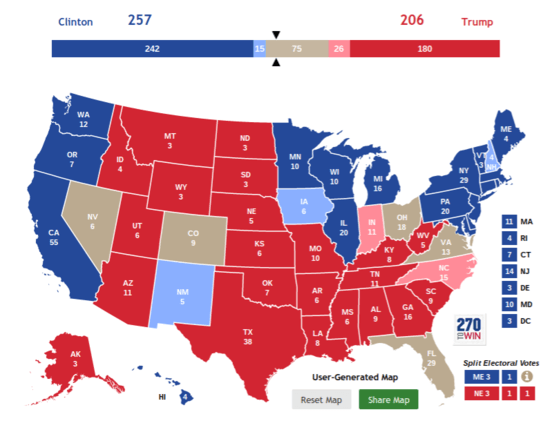 Daily Kos Johnnygunn - Us map electoral votes 2016 unfilled