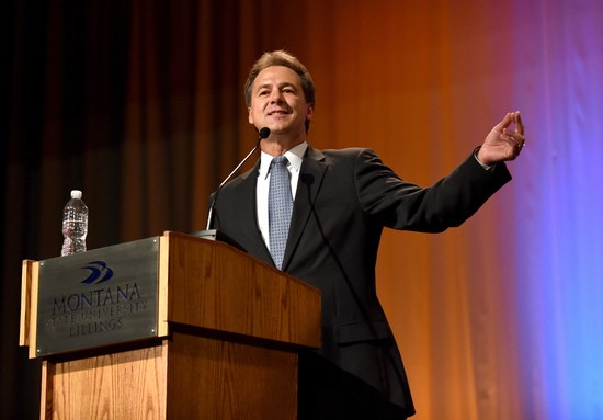 Governor Steve Bullock answers a question during the Montana Gubernatorial Debate on Monday, Sept. 19, 2016, in Billings, Mt.  (Hannah Potes /The Billings Gazette via AP)