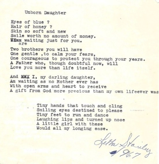 letter to my unborn daughter poem