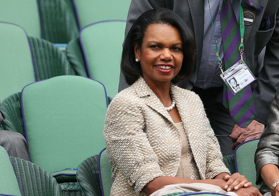 LONDON, ENGLAND - JUNE 24:  Condoleezza Rice watches the gentlemen's singles match between Victor Hanescu of Romania and Roger Federer of Switzerland on day one of the Wimbledon Lawn Tennis Championships at the All England Lawn Tennis and Croquet Club on June 24, 2013 in London, England.  (Photo by Clive Brunskill/Getty Images)