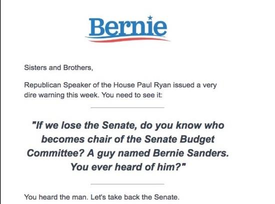 Bernie Sanders fundraising email
