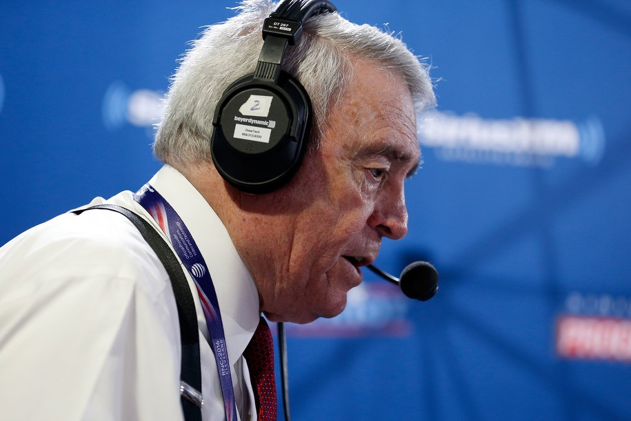 CLEVELAND, OH - JULY 20: Dan Rather records an episode of his show, Dan Rather's America, on SiriusXM at Quicken Loans Arena on July 20, 2016 in Cleveland, Ohio. (Photo by Kirk Irwin/Getty Images for SiriusXM)