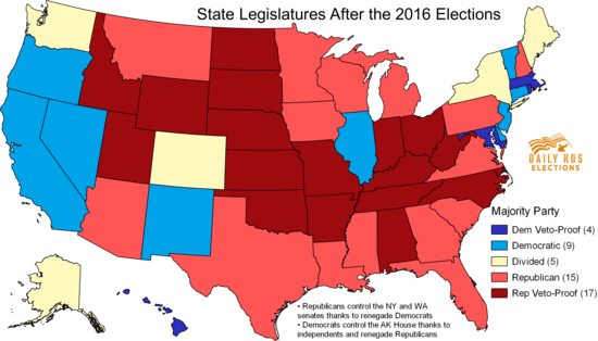 Republicans Now Control Every Southern State Legislature For The - Us-map-of-democratic-and-republican-states