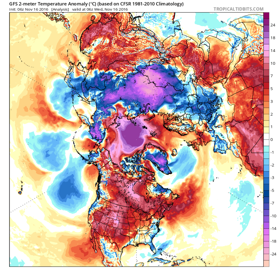 Temperatures over the Arctic ocean are as much as  50 degrees F (30 Celsius)  above normal. It's above freezing in places that are normally 20 below zero in degrees F. Arctic sea ice collapse on the Atlantic side has allowed warm storms to penetrate the central Arctic.