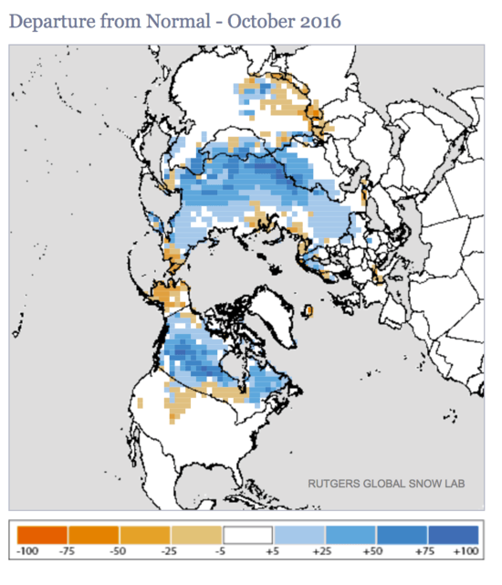 Snow was much deeper than normal in Siberia in October, 2016 as warm Atlantic water in normally forzen Arctic seas north of Eurasia provided an unprecedented moisture source. for Siberian snow.
