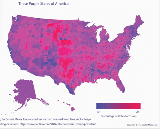 The US is not Red and Blue it is various shades of Purple - Or ...
