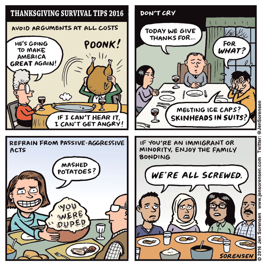 Cartoon: Thanksgiving Survival Tips 2016