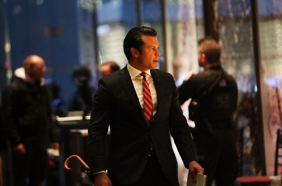 NEW YORK, NY - NOVEMBER 29: Fox News contributor Pete Hegseth arrives at Trump Tower on November 29, 2016 in New York City. President-elect Donald Trump and his transition team are in the process of filling cabinet and other high level positions for the new administration. (Photo by Spencer Platt/Getty Images)