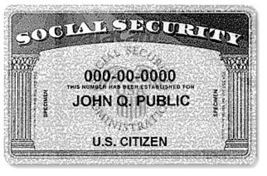"""Social Security card example with name """"John Q. Public"""""""