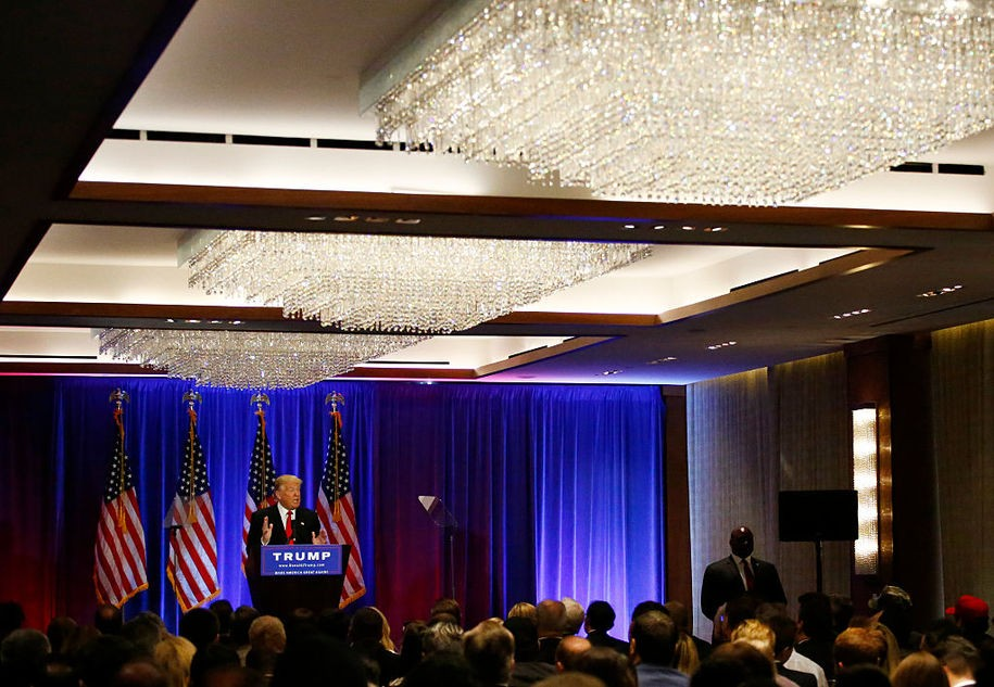 Presumptive Republican presidential nominee Donald Trump speaks at the Trump Soho Hotel in New York on June 22, 2016. / AFP / KENA BETANCUR (Photo credit should read KENA BETANCUR/AFP/Getty Images)