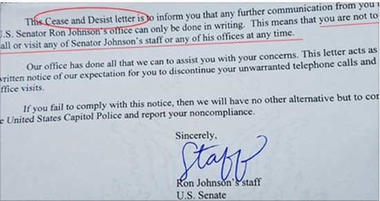 Cease and desist letter reportedly sent to a constituent who frequented Johnson