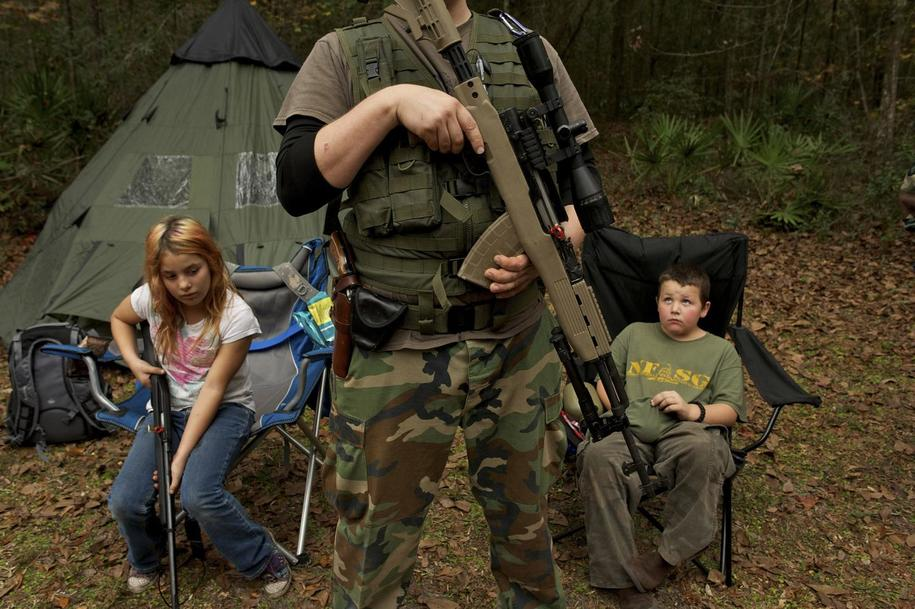 "The North Florida Survival Group teaches ""patriots"" of all ages to handle weapons and survive in the wild."