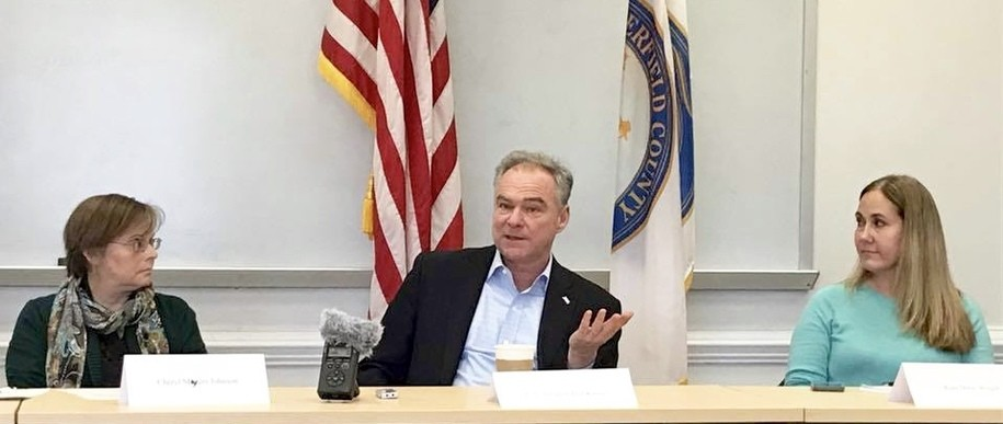 Senator Tim Kaine meets with members of Liberal Women of Chesterfield County and Indivisible Midlothian 3/3/17 to discuss healthcare
