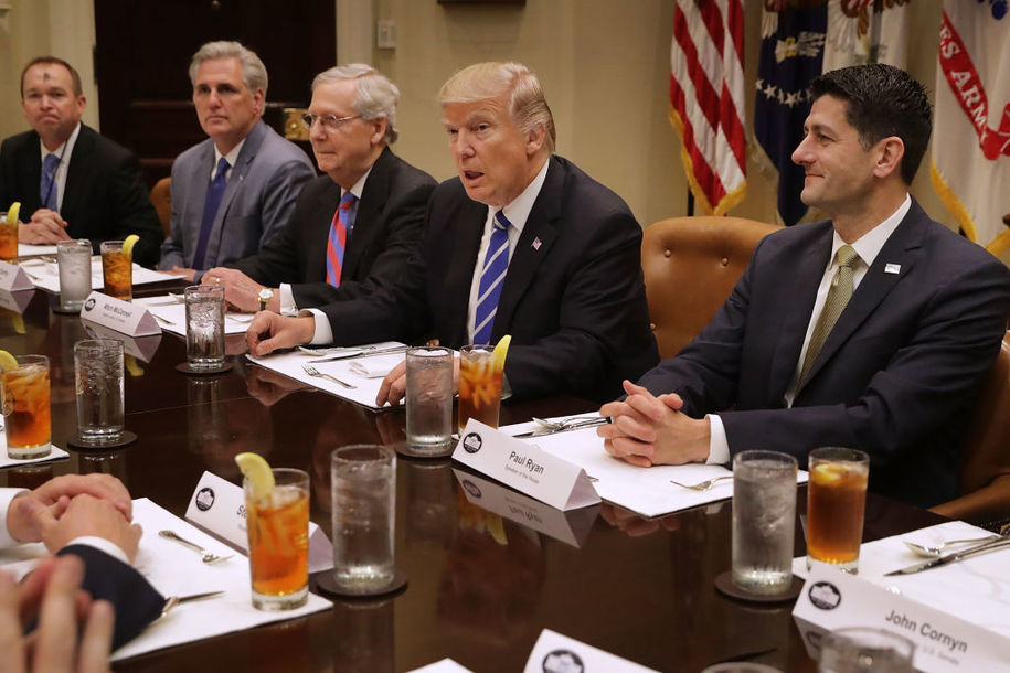 WASHINGTON, DC - MARCH 01:  President Donald Trump (2nd R) hosts Office of Managment and Budget Director Mick Mulvaney (L) and Republican Congressional leaders (2nd L-R) Rep. Kevin McCarthy (R-CA); Senate Majority Leader Mitch McConnell (R-KY), Speaker of the House Paul Ryan (R-WI) and others during a working lunch in the Roosevelt Room at the White House March 1, 2017 in Washington, DC. The meeting comes the day after Trump layed out his policy priorities during a joint session of Congress.  (Photo by Chip Somodevilla/Getty Images)