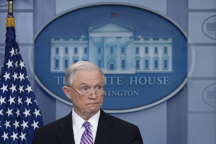 US Attorney General Jeff Sessions speaks during the Daily Briefing at the White House in Washington, DC, March 27, 2017. / AFP PHOTO / JIM WATSON        (Photo credit should read JIM WATSON/AFP/Getty Images)