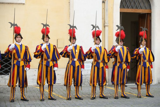 VATICAN CITY, VATICAN - APRIL 04:  Members of the Swiss Guards patrol before Pope Francis meets Prince Charles, Prince of Wales and Camilla, Duchess of Cornwall on April 4, 2017 in Vatican City, Vatican.  (Photo by Chris Jackson/Getty Images)