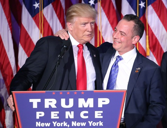 NEW YORK, NY - NOVEMBER 09:  Republican president-elect Donald Trump and Reince Priebus, chairman of the Republican National Committee, embrace during his election night event at the New York Hilton Midtown in the early morning hours of November 9, 2016 in New York City. Donald Trump defeated Democratic presidential nominee Hillary Clinton to become the 45th president of the United States.  (Photo by Mark Wilson/Getty Images)