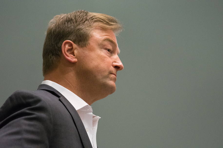 RENO, NV - APRIL 17: Sen. Dean Heller (R-NV) listens at a town hall with Rep. Mark Amodei (R-NV) inside the Reno-Sparks Convention Center on April 17, 2017 in Reno, Nevada. Heller and Amodei spoke with constituents for over two hours on key issues including immigration reform and healthcare.   (Photo by David Calvert/Getty Images)