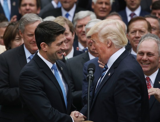 WASHINGTON, DC - MAY 04:  U.S. President Donald Trump (R) congratulates House Speaker Paul Ryan (R-WI) after Republicans passed legislation aimed at repealing and replacing ObamaCare, during an event in the Rose Garden at the White House, on May 4, 2017 in Washington, DC. The House bill would still need to be passed by the Sebate before being signed into law.  (Photo by Mark Wilson/Getty Images)