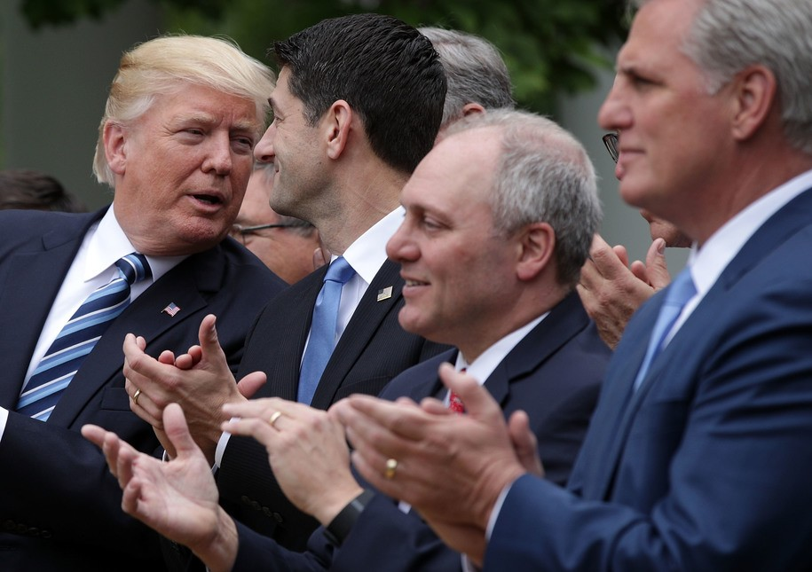 WASHINGTON, DC - MAY 04:  (L-R) U.S. President Donald Trump, Speaker of the House Rep. Paul Ryan (R-WI), House Majority Whip Rep. Steve Scalise (R-LA) and House Majority Leader Rep. Kevin McCarthy (R-CA) participate in a Rose Garden event May 4, 2017 at the White House in Washington, DC. The House has passed the American Health Care Act that will replace the Obama eraÕs Affordable Healthcare Act with a vote of 217-213.  (Photo by Alex Wong/Getty Images)