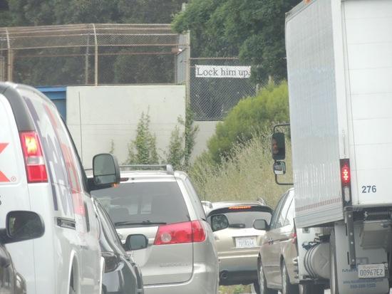 """""""Lock him up."""" sign on U.S. 101 northbound."""