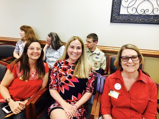 LWCC members wear red for ed(ucation) at a Board of Supervisors work session 4/26/17.