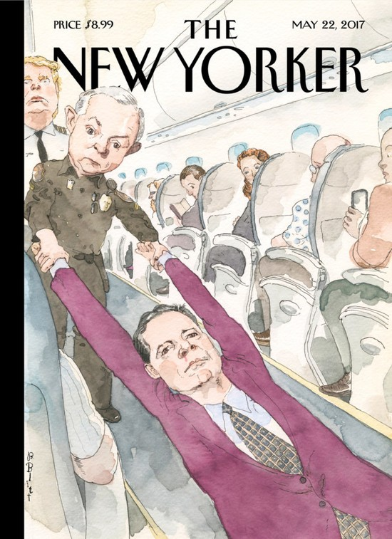 May 22 cover of The New Yorker with james Comey, Jeff Sessions and Donald trump on an airplane.